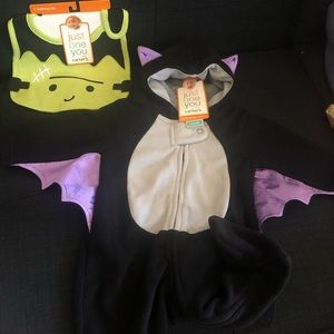 Baby bat footies one piece& Halloween bib😊